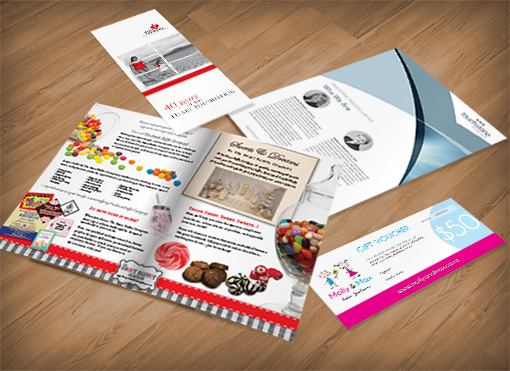 Brochures, flyers, newsletter, design and print